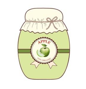 Set jars of jam from fruits isolated on white background.